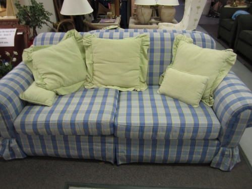 blue plaid sofa loveseat in johns island sc. Black Bedroom Furniture Sets. Home Design Ideas