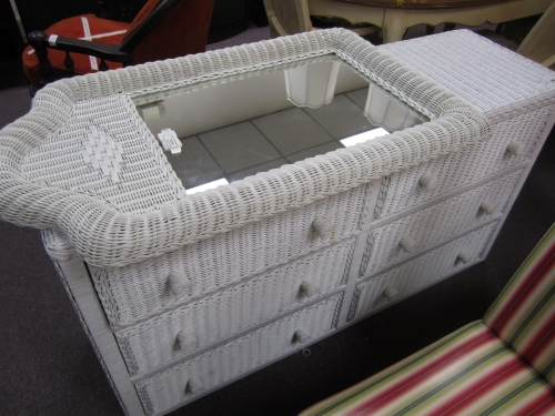 White Wicker Dresser With Mirror Images